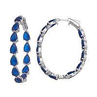 Sterling Silver Blue Cubic Zirconia Inside-Out Hoop Earrings