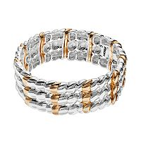 Napier Two Tone Multi Row Stretch Bracelet