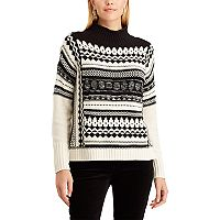 Women's Chaps Patterned Mock-Neck Sweater