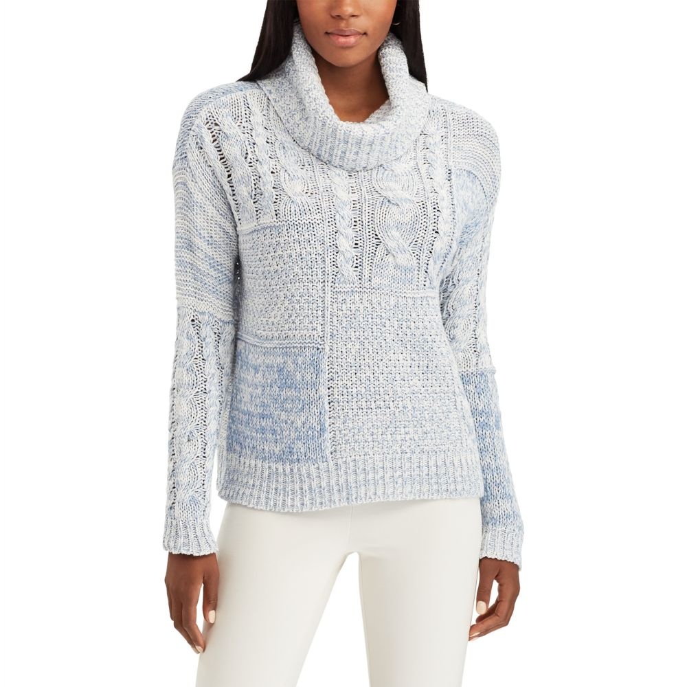 Chaps Patchwork Cowl-Neck Sweater