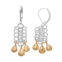 Napier Two Tone Mesh Link Chandelier Earrings