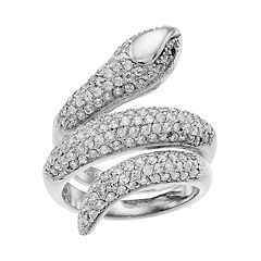 Sterling Silver Cubic Zirconia Snake Ring