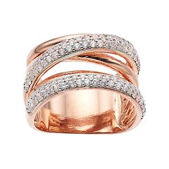 18k Rose Gold Over Silver Cubic Zirconia Crisscross Ring