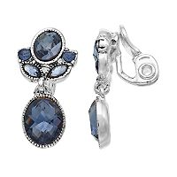 Napier Stone Cluster Double Drop Clip-On Earrings
