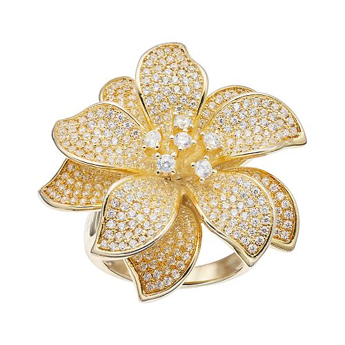 18k Gold Over Silver Cubic Zirconia Flower Ring