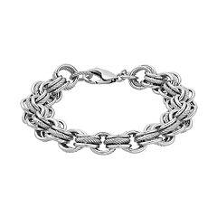 Sterling Silver Textured and Polished Link Bracelet