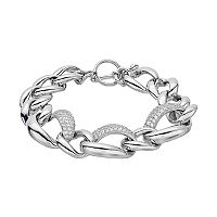 Sterling Silver Cubic Zirconia Free Form Link Toggle Bracelet