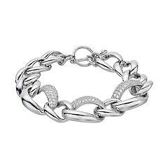 Sterling Silver Cubic Zirconia Free Form Link Toggle Bracelet