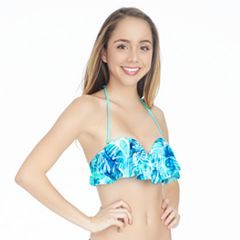 Mix and Match Tropical Flounce Bandeau Bikini Top
