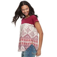 Juniors' Rewind Mixed Print Top