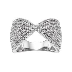 Sterling Silver Cubic Zirconia Geometric Ring