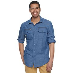 Men's Rock & Republic Zipper-Pocket Button-Down Shirt