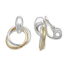 Napier Two Tone Nickel Free Doorknocker Clip-On Earrings