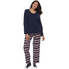 Women's Croft & Barrow® Pajamas: Knit Top, Pants & Socks 3 pc PJ Set