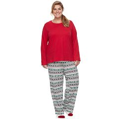 Plus Size Croft & Barrow® Pajamas: Knit Top, Pants & Socks 3 pc PJ Set