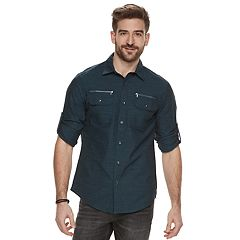 Men's Rock & Republic Zipper-Pocket Button-Down Shirt