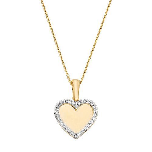 10k Gold 1/10 Carat T.W. Diamond Heart Pendant Necklace