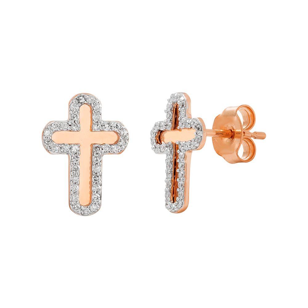 10k Gold 1/5 Carat T.W. Diamond Cross Stud Earrings