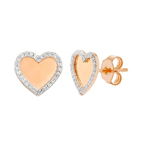10k Gold 1/6 Carat T.W. Diamond Heart Stud Earrings