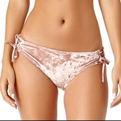 Juniors' California Sunshine Lace-Up Velvet Hipster Bikini Bottoms