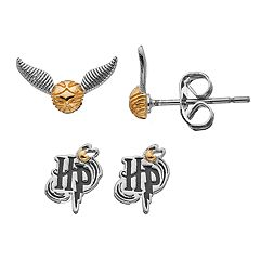 Harry Potter Silver Plated 'HP' & Golden Snitch Stud Earring Set