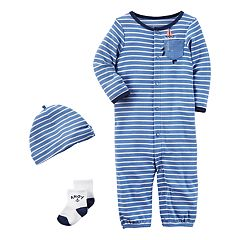 Baby Boy Carter's Striped Bodysuit, Socks, & Hat Set