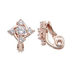 Napier Cubic Zirconia Square Nickel Free Clip-On Earrings