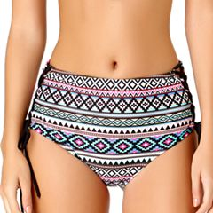 Juniors' California Sunshine Lace-Up High-Waisted Bikini Bottoms