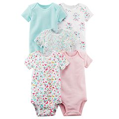 Baby Girl Carter's 5-pk. Floral, Butterfly & Solid Bodysuits