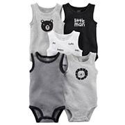 Baby Boy Carter's 5 pkSleeveless 'Little Man', Bear & Lion Bodysuits
