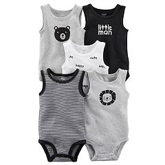 Baby Boy Carter's 5 pkSleeveless 'Little Man', Bear & Lion Bodysuits