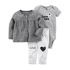 Baby Girl Carter's 'Love You' Bodysuit, Striped Cardigan & 'Sweet' Leggings Set