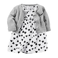 Baby Girl Carter's Heart Bodysuit Dress & Cardigan Set