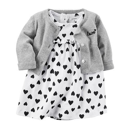 55f868fd3045 Baby Girl Carter s Heart Bodysuit Dress   Cardigan Set