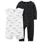 "Baby Girl Carter's Heart Print Coverall & ""Heart Sweet Love"" Romper Set"