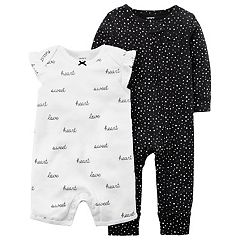 Baby Girl Carter's Heart Print Coverall & 'Heart Sweet Love' Romper Set