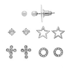 Napier Cubic Zirconia Cross & Star Nickel Free Stud Earring Set