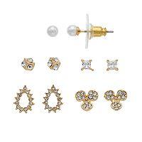Napier Cubic Zirconia Cube & Teardrop Nickel Free Stud Earring Set
