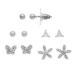 Napier Cubic Zirconia Butterfly & Starfish Nickel Free Stud Earring Set
