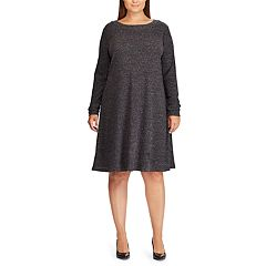 Plus Size Chaps Rib-Knit Fit & Flare Dress