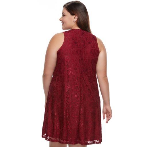 Juniors' Plus Size Liberty Love Lace Shift Dress