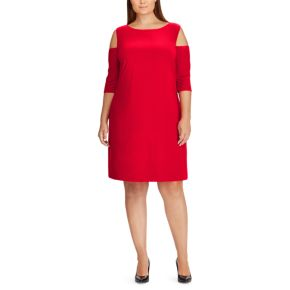 Plus Size Chaps Cut-Out Shoulder Jersey Fit & Flare Dress