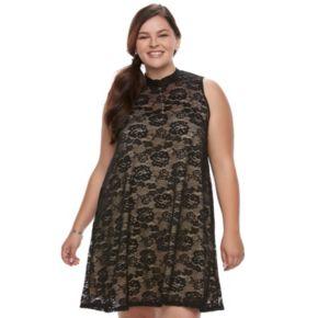 Juniors' Plus Size Liberty Love Lace Mockeck Dress