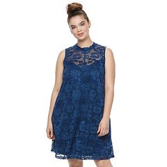 Juniors' Plus Size Liberty Love Lace Mockeck Dress