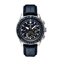 Seiko Men's Prospex Leather Solar Aviator Watch - SSC631