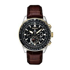 Seiko Men's Prospex Leather Solar Aviator Watch - SSC632