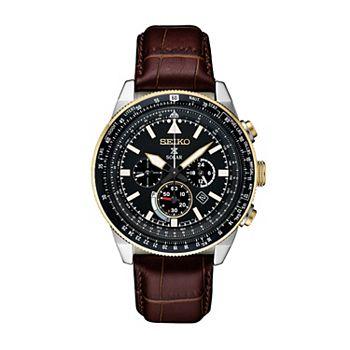 e38def118 Seiko Men's Prospex Leather Solar Aviator Watch - SSC632