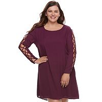 Juniors' Plus Size Liberty Love Lace-Up Sleeve Shift Dress