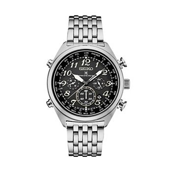 Seiko Men's Prospex Leather Radio Sync Solar Watch - SSG017