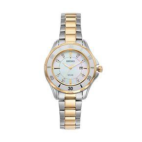 Seiko Women's Diamond & Ceramic Two Tone Solar Watch - SUT338